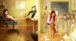 Ilustradora capta perfeitamente a felicidade que é viver na cia de um cão
