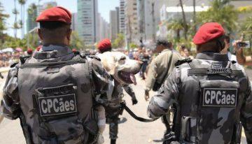 Soldado marcha com cachorro nos braços em desfile de 7 de Setembro