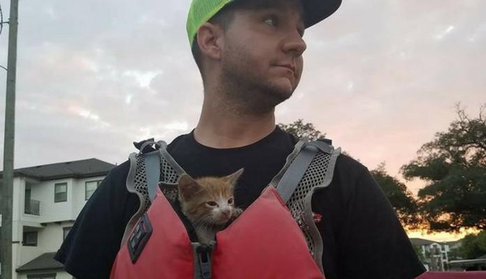 Homem salva gato dentro de um carro que foi levado pelo furacão Harvey