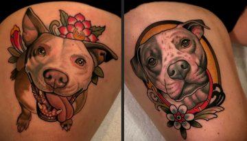 20 Ideias de tatuagens para amantes de cães da raça Pit Bull